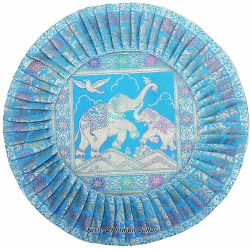 "16/"" Round Cushion Pillow Cover Silk Brocade Sofa Floor Throw Indian Ethnic Decor"
