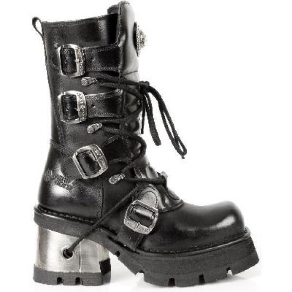 Rebajas m.373-s33 new rock mujeres cuero genuino botas con hebillas 4 negro Gr 36