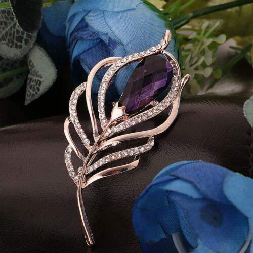 Dame plaqué or feuille plume Cristal Fête Broche Pin Dress Formal Wear PIN