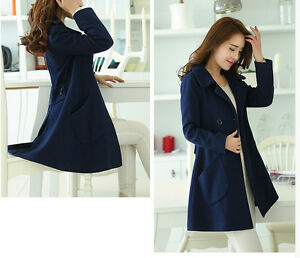 timeless design 69a63 eaa83 Dettagli su Giacca cappotto cappottino lungo elegante donna blu morbido e  caldo 1120
