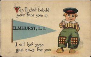 Elmhurst-Long-Island-NY-Pennant-Dutch-Comic-Greeting-c1910-Postcard