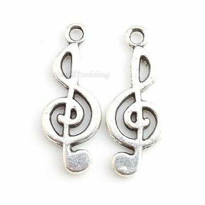 50pcs New Designs Charms Musical Notes Antique Silver Alloy Pendants Findings C