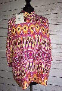 Taglia Uk Mkt Print 10 Goa Pink Eu Orange Silk Sibily Shirt 38 Oversized 2 Studio qTSzw