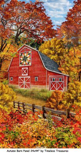 Autumn Barn Panel Cotton Quilt Fabric Timeless Treasures