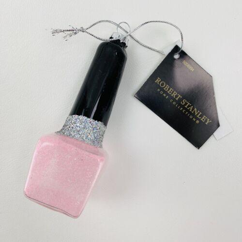 "Robert Stanley Christmas Ornament Glass Nail Polish Bottle Pink 4"" NWT"