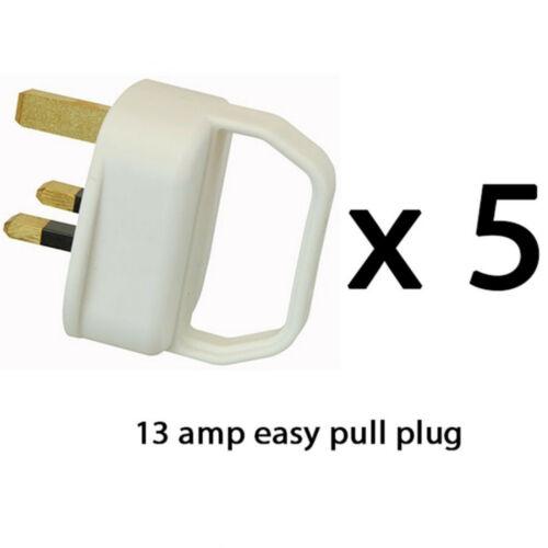 5 X UK Facile Tirer Secteur Plugs 13 A blanc Fondue BS1362 Moulée Poignée 240 V