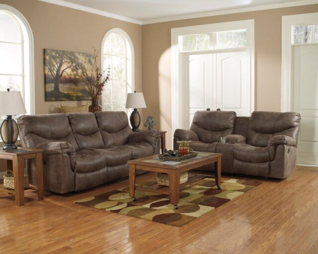 Ashley Furniture Alzena Gunsmoke Reclining Sofa and Loveseat