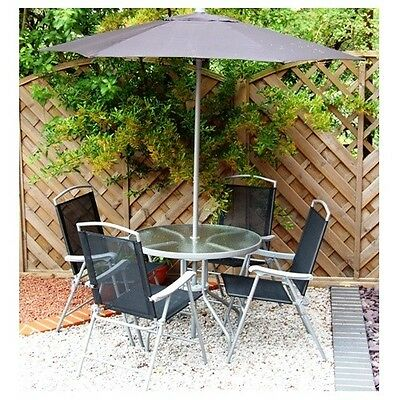 Garden Patio Round Black Textoline Chair Table Set For 4 with Parasol