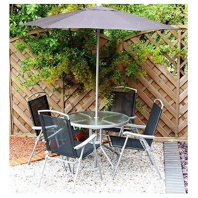 Round Steel/Textoline 4 Seater Outdoor Garden Furniture Dining Set with Parasol