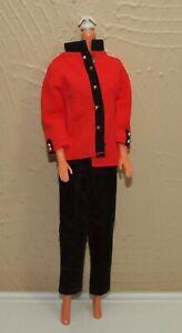 Vintage-Barbie-Mod-Clone-Outfit-Black-amp-Red-PANTS-amp-JACKET-Pantsuit