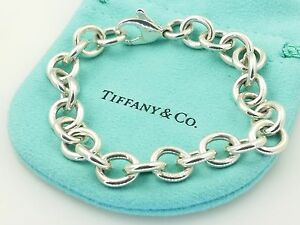 Image Is Loading Tiffany Amp Co Sterling Silver Oval Link Bracelet