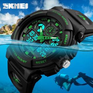 SKMEI Mens Sport Military Analog&Dual Time Zone Digital Alarm Quartz Wrist Watch