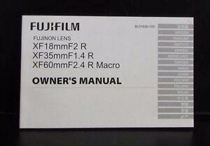 Fujifilm Fujinon Lenses XF 18mm f2 35mm f1 4 60mm f2 4 Macro