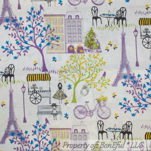 BonEful Fabric FQ Cotton Quilt White Purple Bike Flower Cafe French Eiffel Tower
