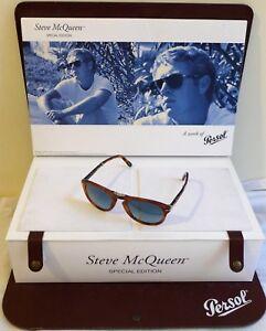 PERSOL-714-Steve-McQueen-Occhiali-da-sole-714SM-Havana-Blu-96-S3-52mm-nuovi-e-mai-indossati