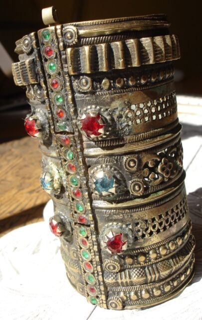 Indian Kuchi large tarnished jewel light gold colour cuff bracelet