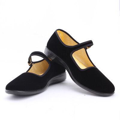 Ladies Mary Jane Cotton Flats Chinese Shoes Classic Velvet Ballet Shoe Sz 5-8.5