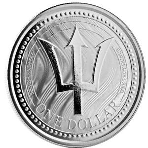 2017 1 oz Barbados Trident .999 Silver Coin BU Proof-like #A437