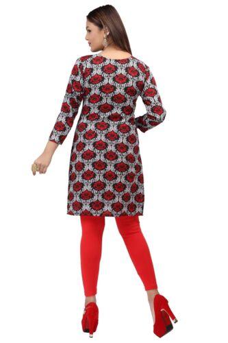 Women Fashion Indian Short Kurti Tunic Kurta Top Shirt Dress 51E4 UK STOCK