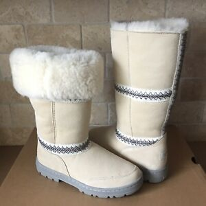 b6ffec218fb Details about UGG SUNDANCE REVIVAL TALL TASMAN BRAID WHITE SUEDE FUR BOOTS  SIZE 9 WOMENS *RARE