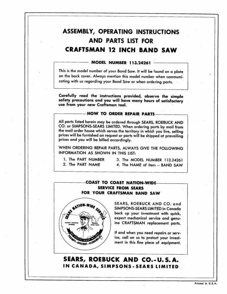 1960s Craftsman 113.24261 12-inch Two Wheel Band Saw Instructions FREE SHIPPING
