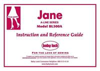 Baby Lock Bl500a Jane Instructions User Guide Manual Color Copy