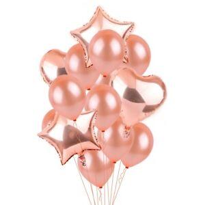 14PCS-Or-Rose-Feuille-Ballon-Coeur-Latex-set-anniversaire-fete-de-mariage-amour-decoration