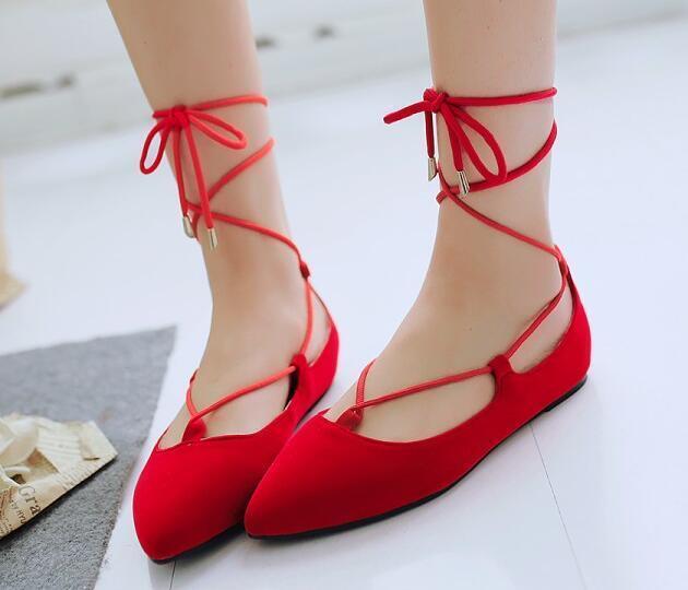 Los últimos zapatos de descuento para hombres y mujeres Descuento por tiempo limitado Bailarinas mocasines zapatos de mujer elegantes rojo talón 1 cm cómodo cordones