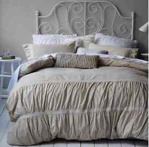 Shabby-Ruffle-Ruched-Chic-Queen-Bed-Doona-Duvet-Linen-Quilt-Cover-Set-Chic-New