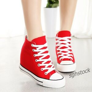 Women Hidden Wedge Heels 7cm Canvas High-Top Lace Up Sneaker Athletic Shoes