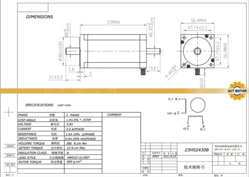 ACT MOTOR GmbH 1Axis Nema23 CNC 23HS2430B Dual Shaft 3A 112mm 425oz-in Bipolar