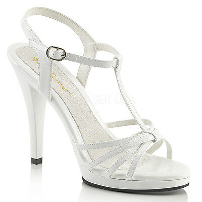 Fabulicious FLAIR-420  Silver Metallic Clear T-Strap Strappy Stiletto High Heels