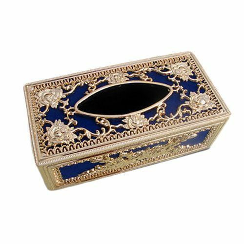 Royal Blue Golden Paper Tissue Box Holder Office Car Home Decor NEW