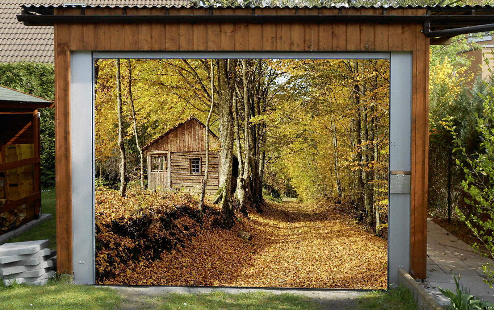 3D Chalet Bosco 27 Garage Porta Stampe Parete Decorazione Murale AJ WALLPAPER IT