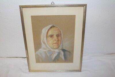 Antiques Starkes Ritratto Uno Vecchio Donna Contadina Foulard Europa Dell'est Guazzo