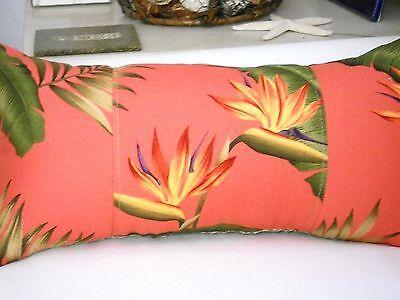 Tropical Hawaiian 100/% Cotton Barkcloth Fabric LUMBAR PILLOW ~Lani~