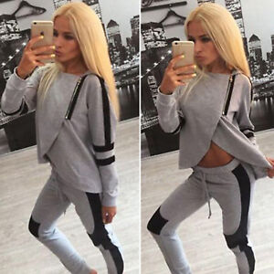 Womens-Winter-Tracksuit-Hoodies-Sweatshirt-Pants-Sets-Sportswear-Casual-Zipper