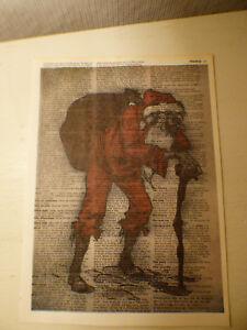 Santa Wall Art,10.5/'x7.75/' Vintage Dictionary Krampus Christmas