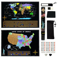 the USA Map Scrapable + Scratch Off World Map Travel Poster Wall Decor