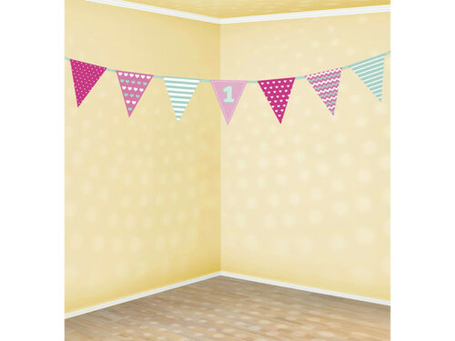 1st Birthday Banners for Boys or Girls Pink or Blue inc Satin Ribbon for Party
