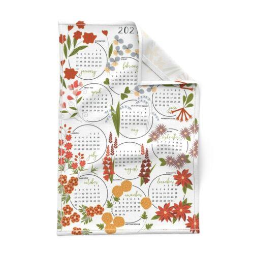 Spoonflower Tea Towel 2021 Fall Floral Calendar Orange Red Flowers Linen Cotton