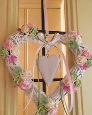 WICKER Cuore Corona SHABBY CHIC COUNTRY PORTA CORONA Rose bellissima