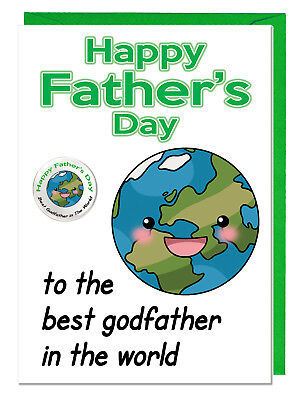 To The Best Foster Dad In The World Fun Foster Dad Fathers Day Card /& Badge