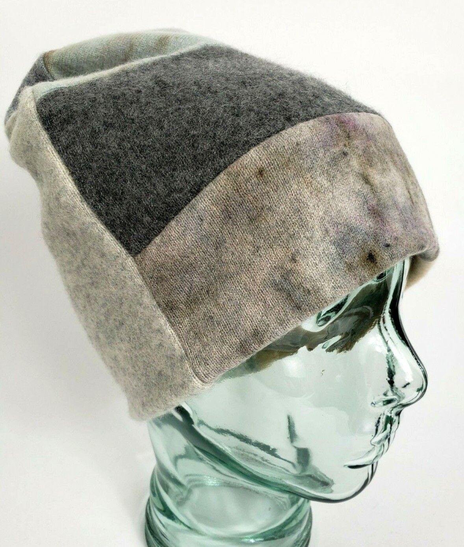 # 100% Pure Cashmere Sombrero Gorro Unisex Gris Grueso Doble Regalo hecha a mano A59