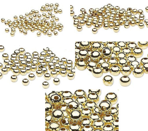 100 Or Acier Fini Métal Round Spacer Beads 2.5 mm 3 mm 4 mm 6 mm 8 mm
