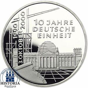 BRD-10-DM-10-Jahre-Deutsche-Einheit-2000-Silber-Spiegelglanz-Muenze-in-Muenzkapsel