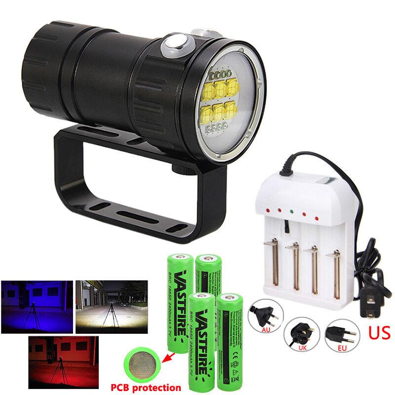 Photography Video 14X 14X 14X L2 LED 28800LM Rot Blau Licht Tauche Tauchlampe bis 100m J 2580d0