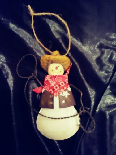 Snowman with Lasso Western Christmas Ornament Vintage Style for Decor or Crafts