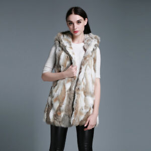 Fur Real Rabbit Vintercoat Jacket Vest 020178 Hood Big Veste New Womens EIqZgF