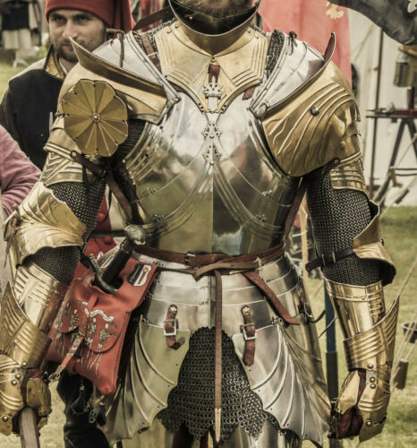 18GA Steel Medieval Battle Armor Half Body Suit With Cuirass//Gaunlets//Pauldrons